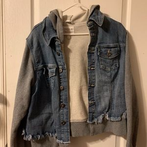 Jean jacket with sweater sleeves and hoodie